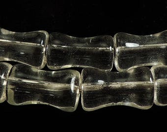 Clear Dumbbell Glass Trade Beads Africa 71797