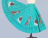 RARE!!!! 1950s Lady and the Tramp Skirt / 50s Full Circle 16 Panel LADY and TRAMP Aqua Teal Skirt / Novelty Print