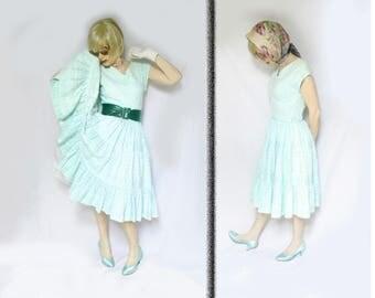 50s Circle Skirt Dress is a Summer Full Skirt Dress for Busty Girls and Rockabilly Summer, 50s Picnic Dress, Aqua Cupcake, Cotton Eyelet