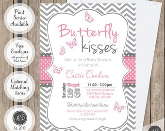 Butterfly kisses baby shower invitation, butterfly baby shower invitations, pink and gray, chevron, printable invitation, bf1