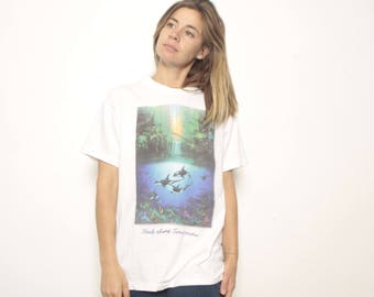 "GREENPEACE vintage white faded ""Extinction is Forever"" WHALE faded oversize t-shirt"