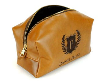 Personalized Leather Dopp Kit - Groom Gifts - Tan