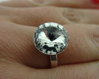 Sterling Silver Swarovski Crystal Clear 12 mm Rivoli Ring size 7.5