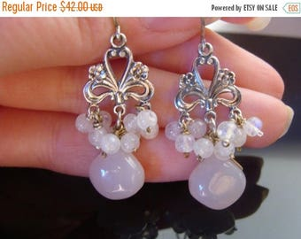 White Chalcedony and Moonstone Chandeliers Sterling Silver Earrings