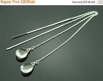Long Crystal Quartz Drop 925 Sterling Silver Ear Threads