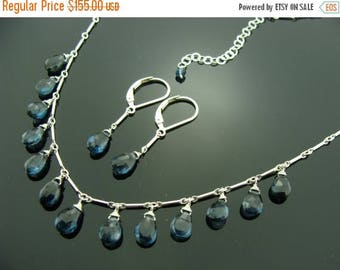 Genuine London Blue Topaz 925 Sterling Silver Necklace and Earrings Set