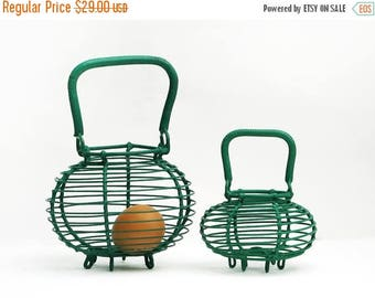 Set of 2 French vintage wire fruits basket, eggs basket, french wire, Miniature Basket ,Dollhouse Kitchen Collectibles, dishes Miniatures