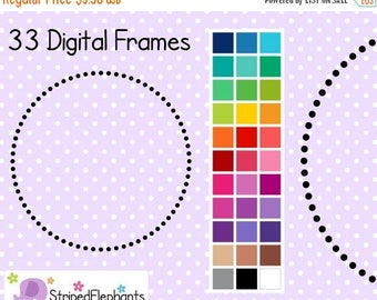 40% OFF SALE Dotty Circle Digital Borders - Clip Art Frames - Instant Download - Commercial Use