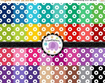 40% OFF SALE Flower Digital Papers 1, Flowers Digital Scrapbook Paper, Flowers Digital Backgrounds, Instant Download, Commercial Use