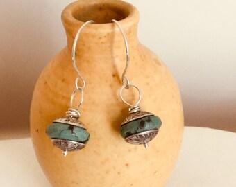 Turquoise & Sterling Silver Drop Earrings