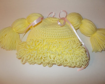 Cabbage Patch hat, cabbage patch beanie, wig hat, 6-12 months size baby hat, Make your baby look like a doll, blond wig
