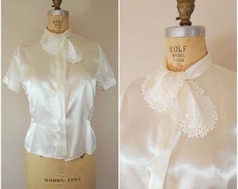 20% OFF SALE Vintage 1940s Satin Blouse / White Blouse / Medium