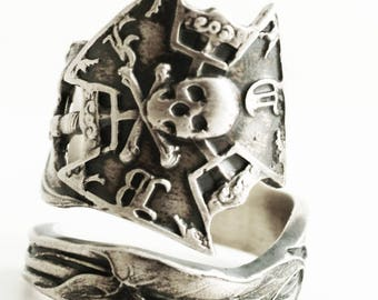 IOOF Ring, Odd Fellows, Sterling Silver Spoon Ring, Calla Lily, Skull and Crossbones, Skull and Bones, Mens Masonic Ring, Adjustable (6640)