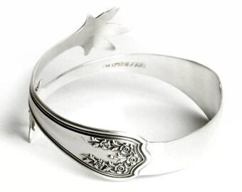 Antique Rose Flower Bracelet, Floral Cuff Bracelet, Vintage Sterling Silver Spoon Bracelet, Flatware Jewelry, Adjustable Size 6 7 8 9 (6985)