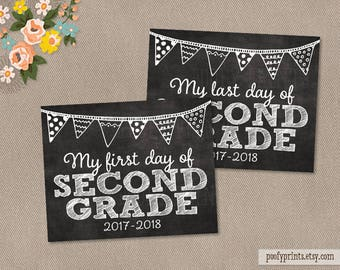 First & Last Day of 2nd Grade Chalkboard Printable Sign - Printable First Day of Elementary School Sign 2017 - 2018 - INSTANT DOWNLOAD - 500