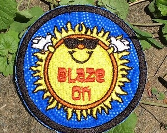 MADE TO ORDER Blaze On, handmade Phish patch, iron on, music, festival, hippie, boho, sun, big boat, upcycled, recycled, eco