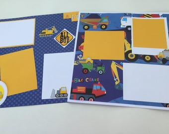 Premade scrapbook pages for little boy  Boy premade scrapbook pages   12 by12   truck premade pages  pre made pages for boy album