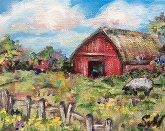 Red Barn Painting rural prairie  Landscape original painting 5 x 7""