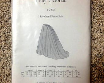 TV202 Truly Victorian Steampunk 1869 Grand Parlour Skirt Sewing Pattern Uncut MULTI SIZE for reenactments & Wild West World costume supplies
