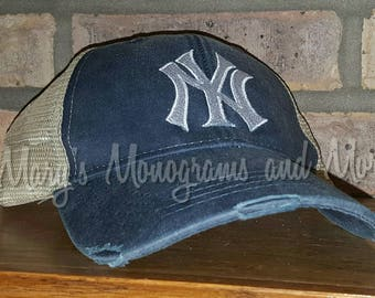 Free Shipping - NY Yankees Distressed Trucker Hat- New York Baseball Team Ollie Cap - NY City Hat