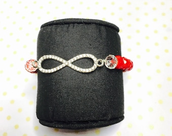 Infinity Bracelet, Red crystals, stretchy, beaded, layering, handmade, item no. L433
