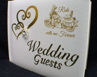 """COOL harley Davidson Motorcycle Bike Wedding Guest book """"Ride with ME Forever"""" Live to ride"""