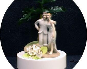 Tropical, Luau, Hawaii Beach Florida Wedding Cake Topper. Ocean Lake bride and Groom Top