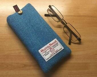 Glasses case, blue herringbone Harris Tweed glasses case, tweed specs case, scottish gift, Mothers Day gift