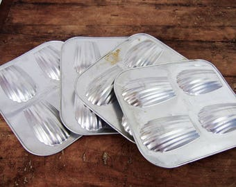 Cake tins 4 Madelienes tin Vintage French tins Madeline baking pan 16 soft aluminum serving dishes