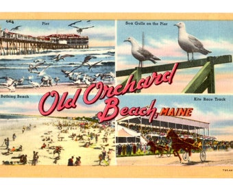 Greetings from Old Orchard Beach Maine Vintage Postcard