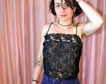 80s Sheer Black Lace Tank Cropped Blouse, Deena