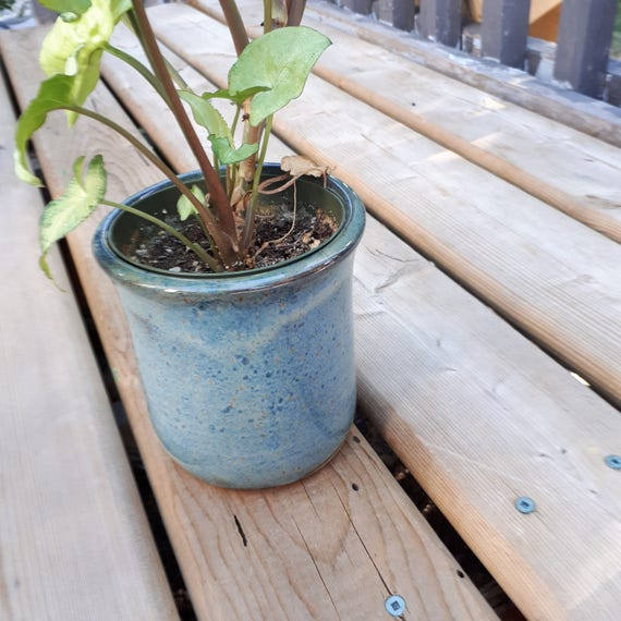 Pottery   Plant Pot in Denim Blue with white flashing contemporary ceramics utensil holder