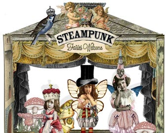 printable Steampunk Fairy garden theatre paper doll set craft project DIY kit to make a Fairy Gardenscrapbooking