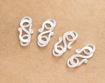 4 of Karen Hill Tribe Silver Clasps 14 mm. :ka4306