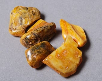 Set of 5 big Natural Baltic Amber stones without hole