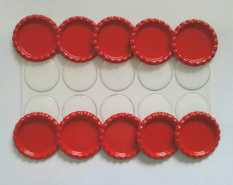 Ten Flattened Red Bottle Caps with Premium Epoxy Stickers, 10 Red Flattened Bottle Caps and Premium Epoxy Stickers