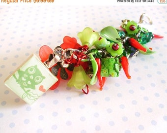SALE ON SALE Keychain Purse Charm/ Fob with Owl, Peppers and Green Beads and Flowers with Bird Scrabble Tile