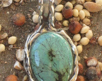 Native American Turquoise and Sterling Silver Pendant.Southwestern Jewelry.Indian Turquoise Jewelry.Turquoise Charms.Indian Jewelry