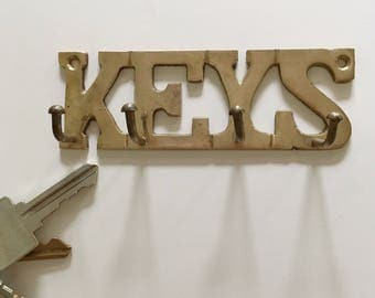 Vintage brass key hook, brass key hooks, brass wall decor , brass decor, boho decor, boho home decor