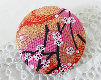 Red floral fabric button, 40 mm in diameter