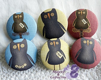 Set of 6 printed owl buttons, 1.25 in / 32 mm