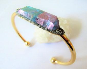 Raw Crystal Bracelet, Raw Stone Jewelry, Gift, Crystal Quartz Bracelet, Healing Crystal Jewelry, Raw Mineral Bracelet
