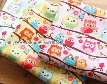 m340_45 - floral and owl fabrics  - ( 3  color to choose) in Half Yard
