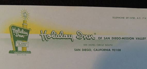 4 Pieces 1960s Holiday Inn Stationery & Envelopes Paper Ephemera.. San Diego, CA (Lot #1)