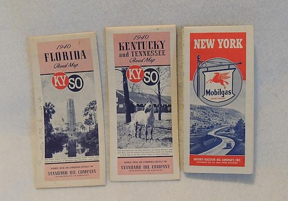 3 1940 Road Maps.. Standard Oil, Kentucky Florida Kyso, New York Sacony Mobilgas