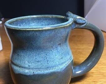 Handmade Pottery Mug, Large Ceramic Mug, Decorated Mug, Blue Mug, 0825