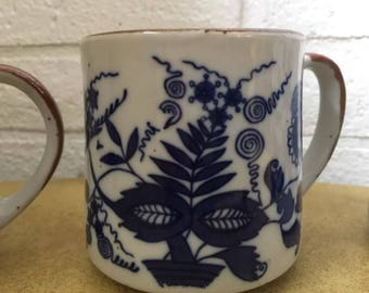3 Vintage Cobalt Blue Off White Ceramic Mugs Asian Mod