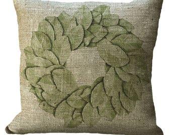 Magnolia Leaf Wreath in Choice of 14x14 16x16 18x18 20x20 22x22 24x24 26x26 inch Pillow Cover