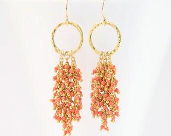Coral Beaded Tassel Earrings, Beachy Gemstone Earrings, Bridesmaid Gift, Gold Hammered Hoop, Bauble Earrings, Statement Earrings, Cluster