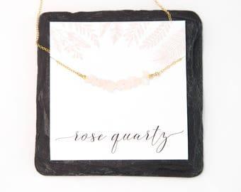 Rose Quartz Raw Crystal Necklace, Gemstone Bar Necklace, Healing Crystal Necklace, Bridesmaid Gift, Beauty Gift, Gemstone Choker, Boho